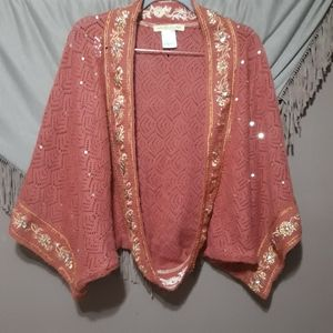 Miss Me Boho Beaded Sequin Oversized Shrug Sweater